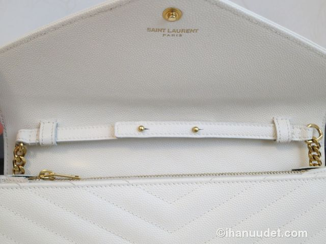 Saint Laurent Monogram Chain Wallet Cream White13.JPG