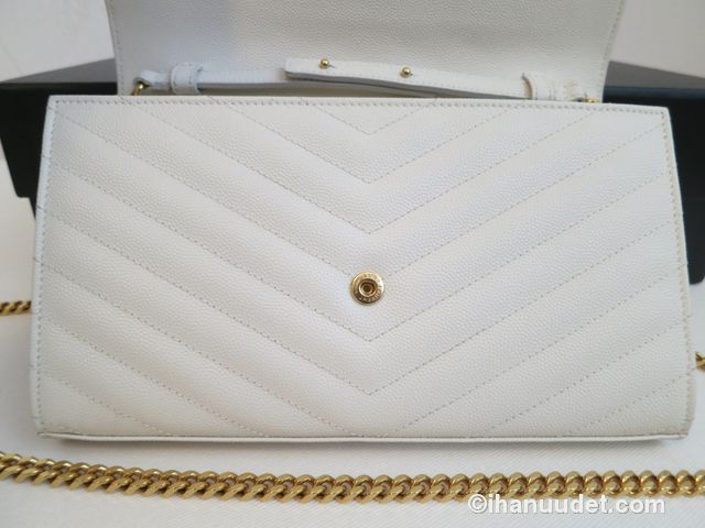 Saint Laurent Monogram Chain Wallet Cream White17.JPG