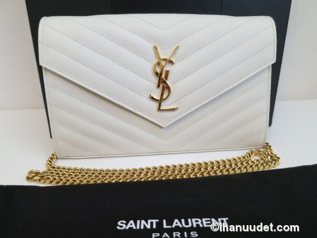 Saint Laurent Monogram Chain Wallet Cream White21.JPG
