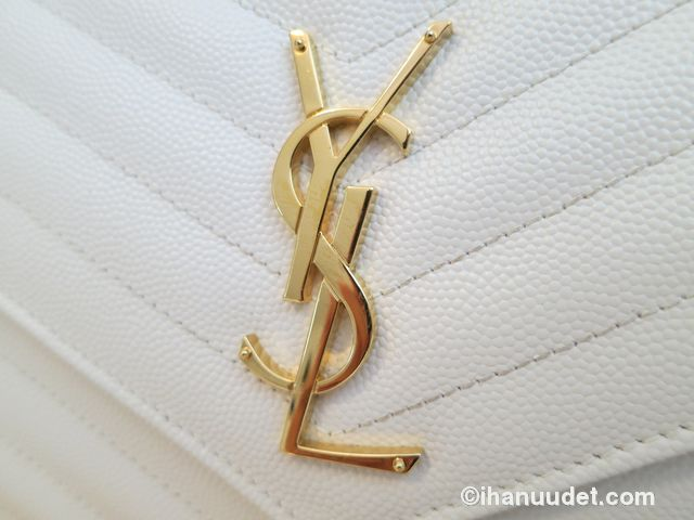 Saint Laurent Monogram Chain Wallet Cream White5.JPG