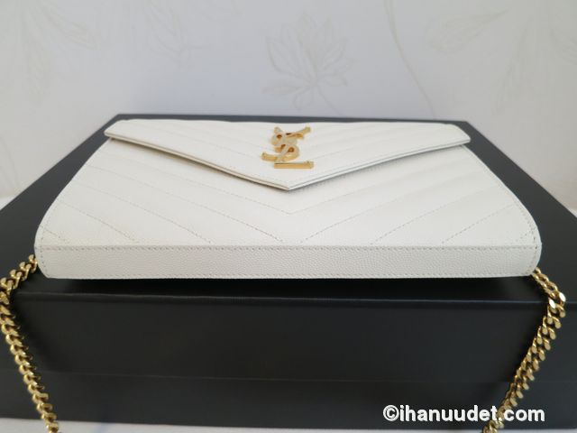 Saint Laurent Monogram Chain Wallet Cream White7.JPG