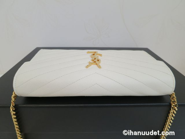 Saint Laurent Monogram Chain Wallet Cream White8.JPG